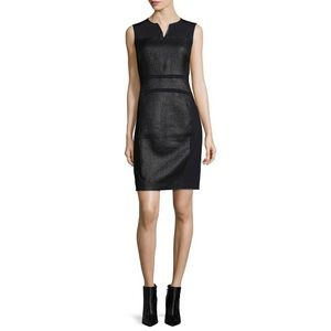 Elie Tahari Mixed Media Leather Sheath Anya Dress